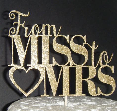 Miss to Mrs heart Cake Topper