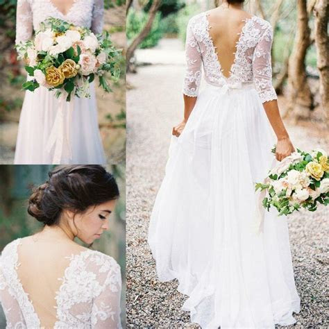 Bohemia Lace Chiffon Wedding Dresses V neck 3/4 Long