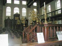 Interior of the Amsterdam Esnoga, the synagogue for the Portuguese-Israelite (Sephardic) community which was inaugurated at August 2th 1675 and is still being used by the Jewish community.