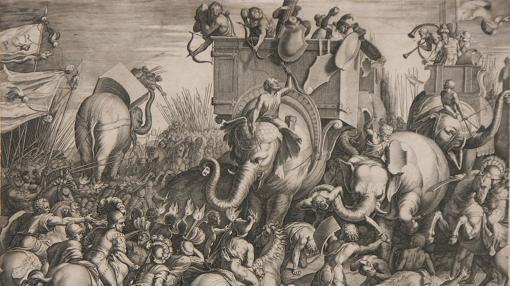 Grabado de la batalla de Zama, donde Aníbal fue derrotado por Escipión