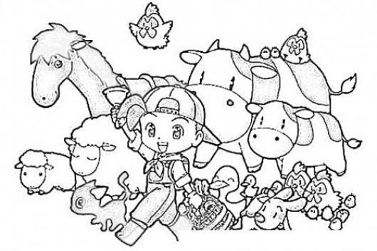 Dibujo De Nino Granjerito Con Animales Para Pintar Y Colorear