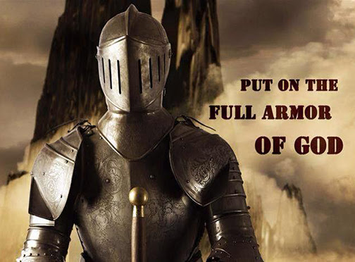 [Photo of a suit of armor with words superimposed]