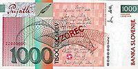 Bankovec za 1000 sit (2000) - zadnja stran