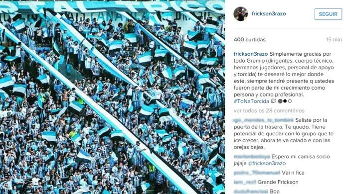 Erazo zagueiro Grêmio despedida Instagram (Foto: Reprodução / Instagram)