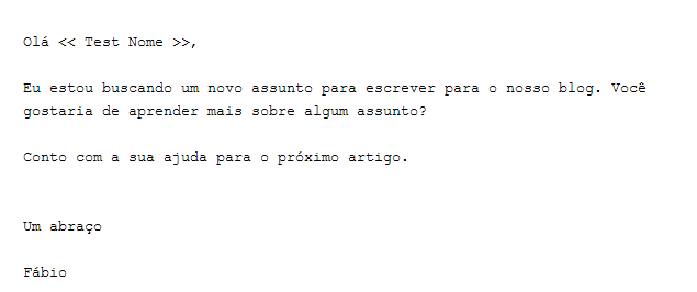 Texto do Email