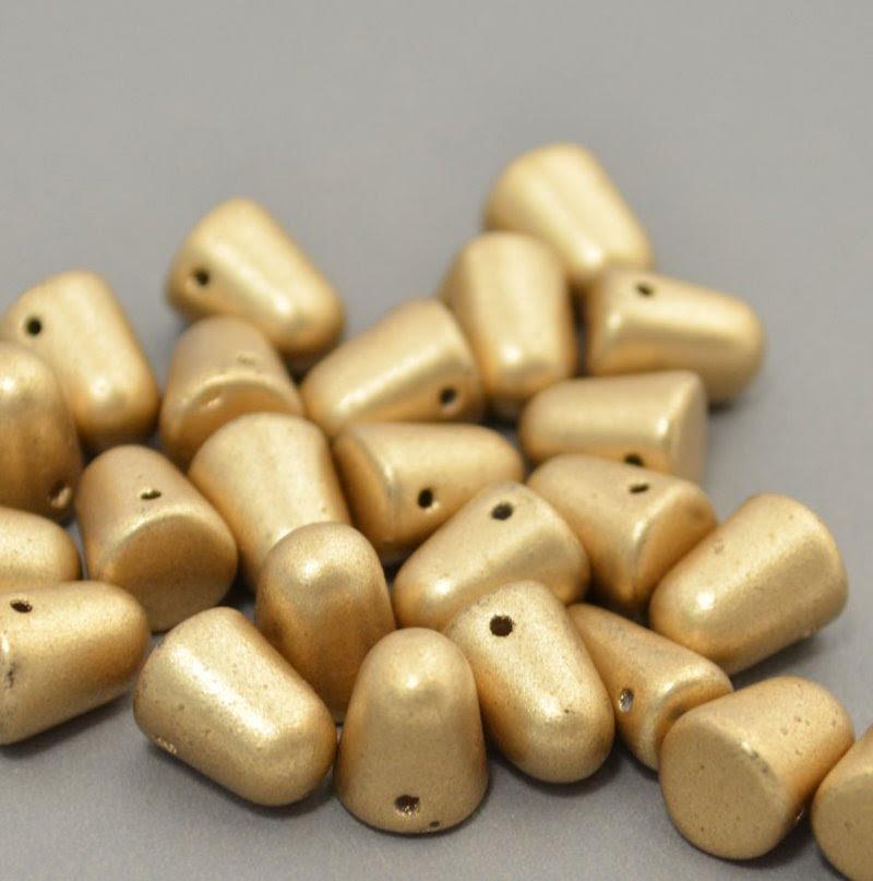 s40945 Glass Beads - 10 mm Gumdrops - Light Silky Gold (6)