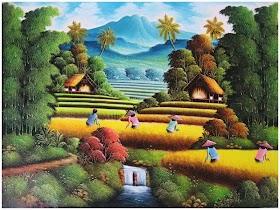 Gambar Pemandangan Gunung Sawah Dan Sungai
