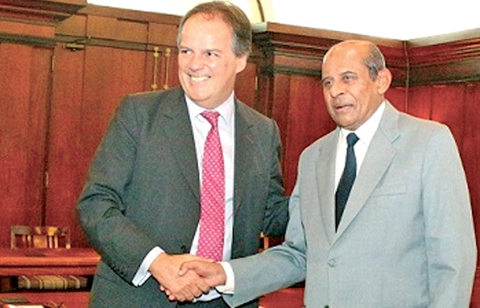 Minister Mark Field with Foreign Affairs Minister Tilak Marapana.