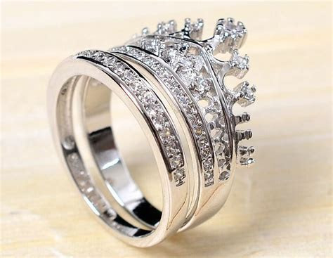 "Fashion Royal 2 in 1 Set ""Crown"" CZ Silver Wedding"