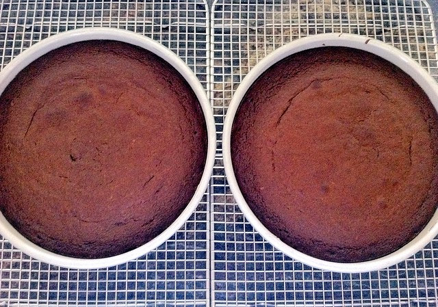 Cakes Baked and Cooling in Pans