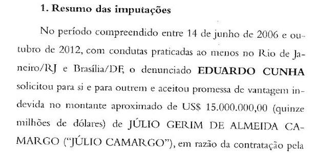 Trecho da denúncia da PGR contra Eduardo Cunha