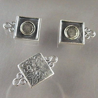 s16704 Sterling - Magnetic Clasp - 13 mm Square Floral Bouquet - Sterling (1)