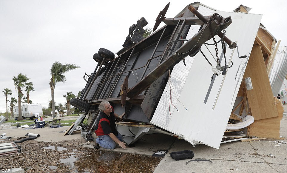 An apartment unit sits completely destroyed from Hurricane Harvey in Refugio, Texas on Monday