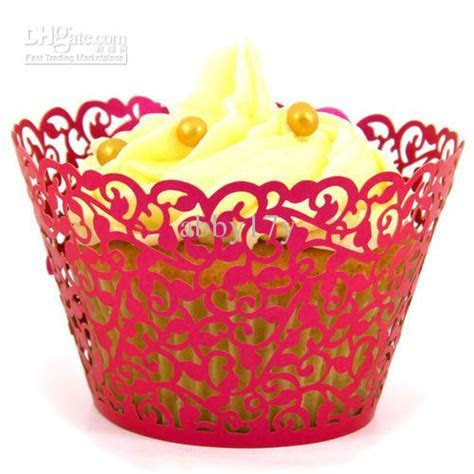 Laser Cut Out Red Filgree Vine Cupcake Wrappers Wedding