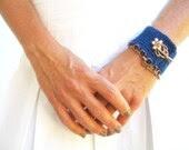 Cuff Bracelet, Crochet, Blue, Copper Chain, Cotton Yarn, Toggle Clasp - JustColor