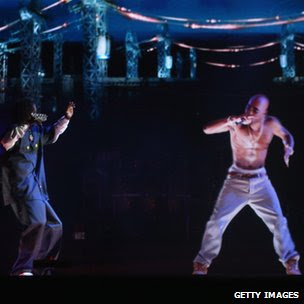 Hologram of deceased rapper Tupac Shakur (right) on stage with Snoop Dogg, 15 Apr 12