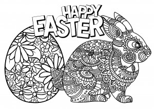 Simple easter doodle - Easter Adult Coloring Pages