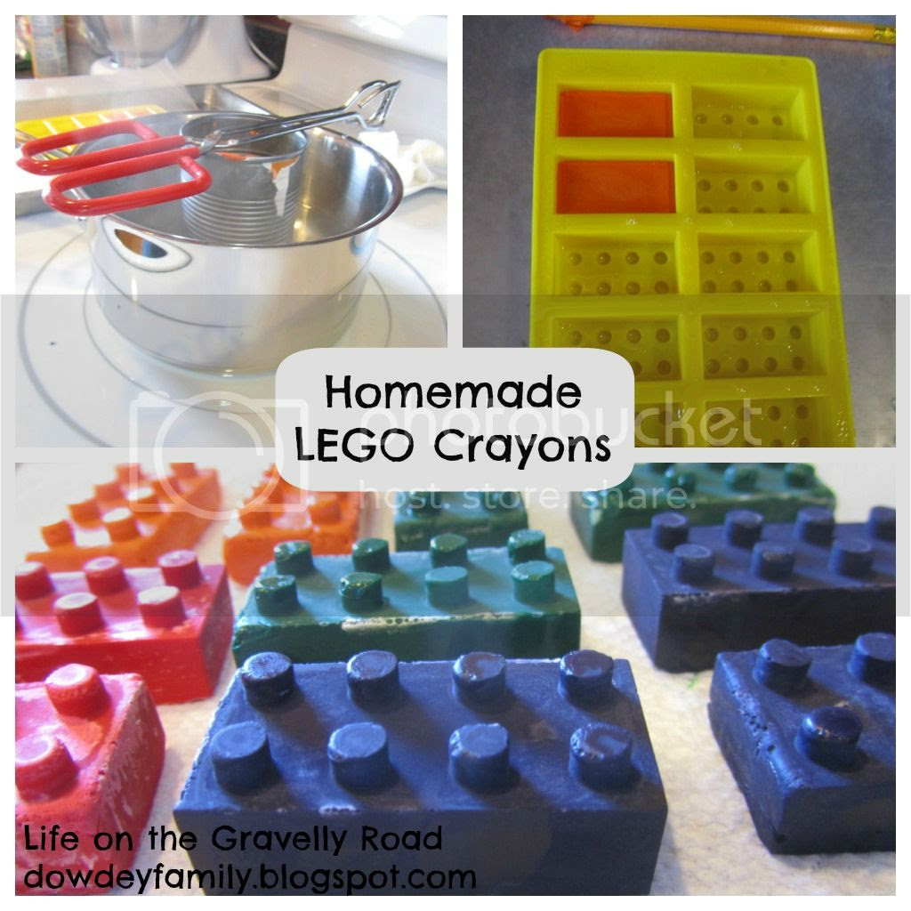 Lego party favor homemade crayons