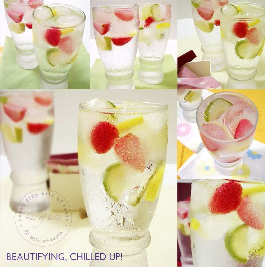 Fruit in ice cubes - make lemonade punch and put out bowls of the different cubes to flavour it. Raspberry, kiwi, strawberry, lime....