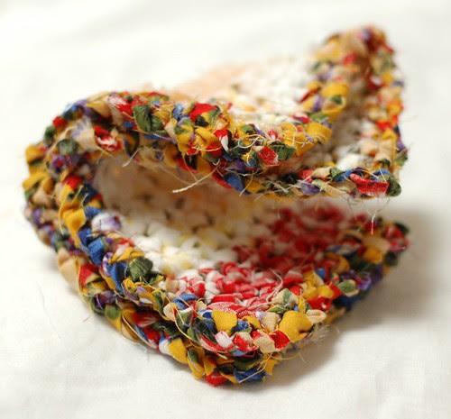 Fabric crochet pot holder
