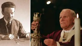 Jan Tyranowsky (left); Pope John Paul II (right)