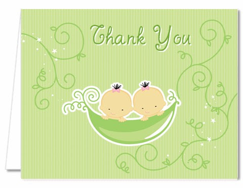 Twins Two Peas In A Pod Asian Baby Shower Thank You Cards