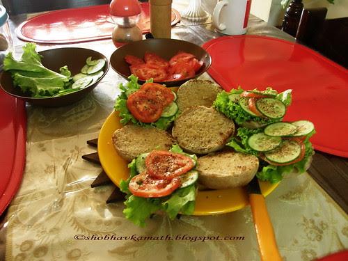 Healthy multi grain Bread - open Sandwich