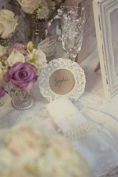 White Lace Frames Make Lovely Wedding Name Place Settings