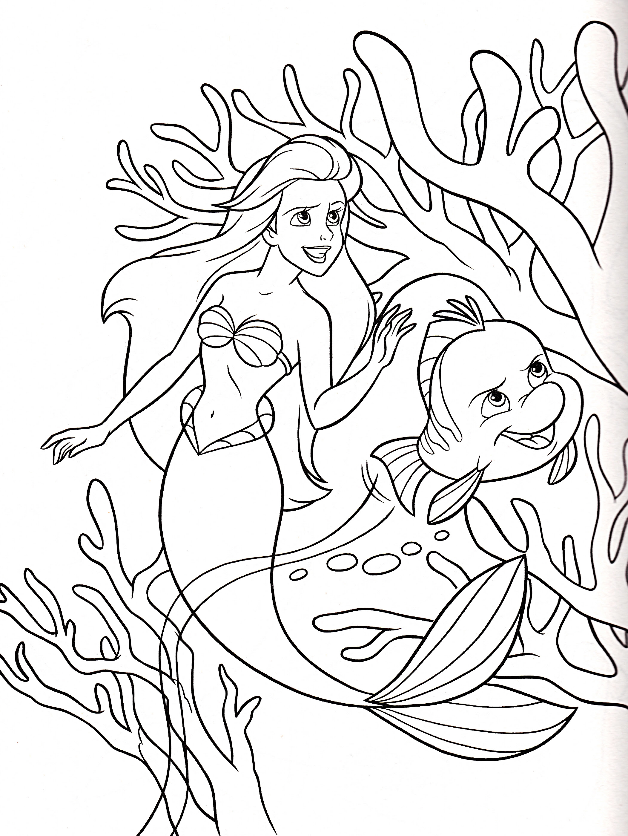 Walt Disney Coloring Pages Princess Ariel & Flounder