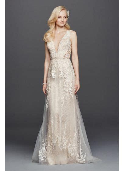 Illusion Plunging V Neckline Tulle Wedding Dress   David's