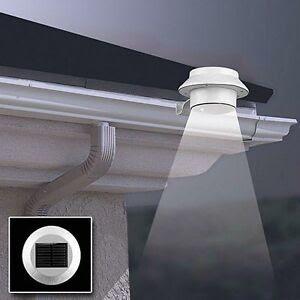 Outdoor 3 LED Solar Powered Wall Mount Fence Garden Gutter Roof Yard Light Lamp  eBay