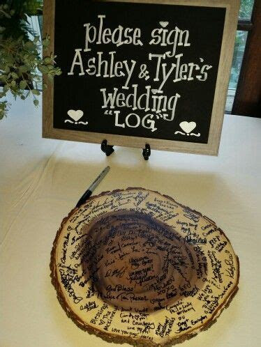 Sign the wedding log in place of a guest book.   In Place