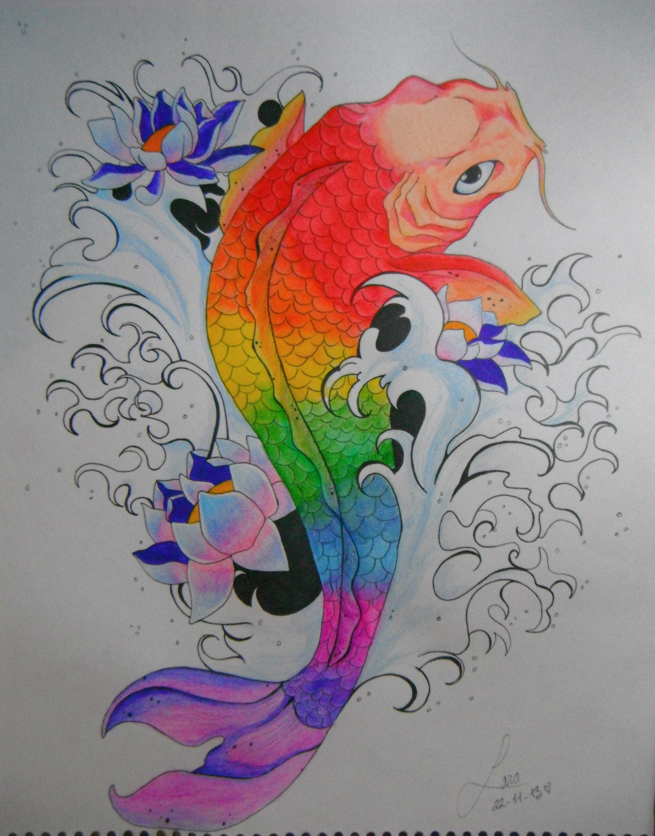Koi Fish Drawing Wallpaper