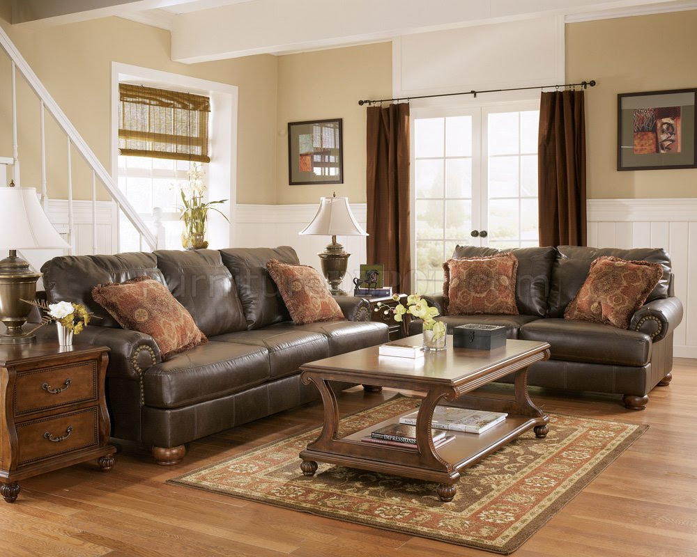 Truffle Color Rustic Living Room with Nailhead Deatils By ...