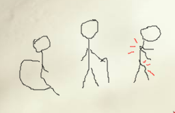 drawing of a person in a wheelchair, drawn in the style of the usual disability symbol, next to a person with a cane and a person with red lines coming from their back and leg