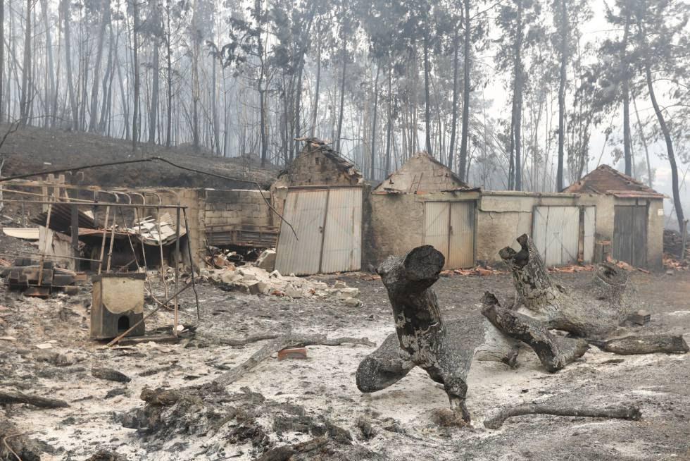 Varias casas afectadas por el fuego en Nodeirinho, cerca de Pedrógão Grande (Portugal).