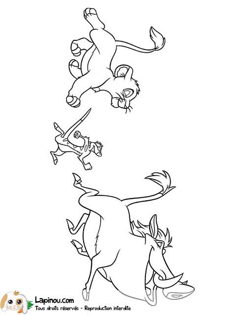 Timon Pumbaa Et Simba Coloriages à Imprimer Pour Les Enfants Sur