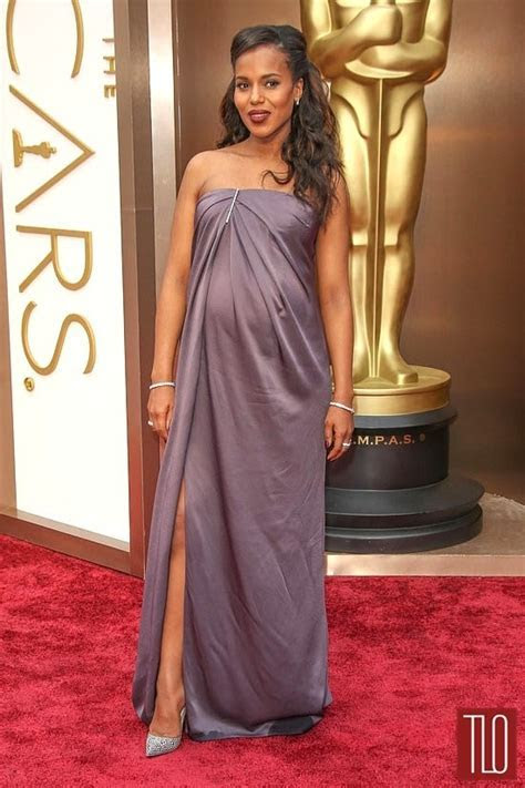 Kerry Washington Oscars 2014 Strapless Formal Dress Red