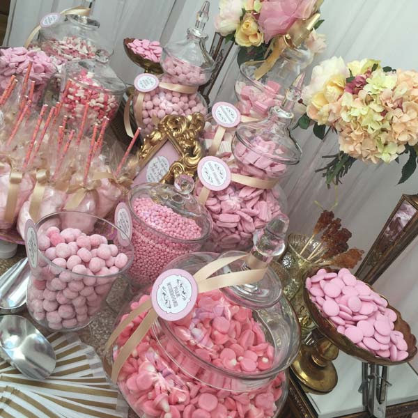 pink gold candy floss sweet table