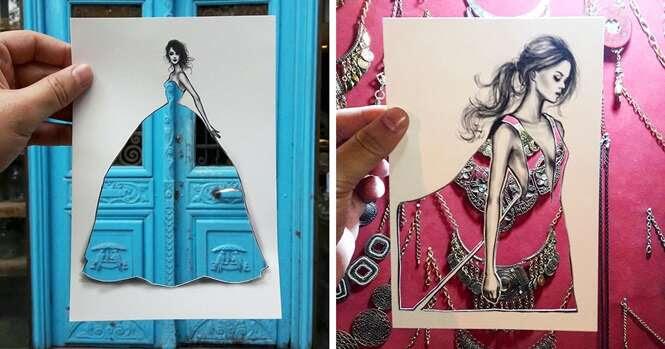 Ilustrador usa cenários naturais para criar incríveis combinações para vestido
