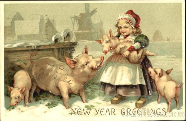 Открытка добрым, дореволюционные рождественские открытки со свинками