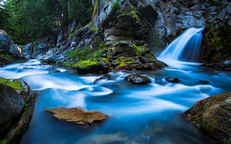 silver falls canyon mount rainier national park usa beautiful mountain river waterfall clear