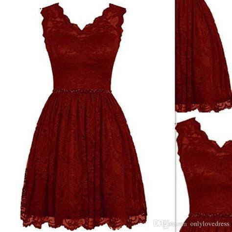 2016 Short Bridesmaids Dresses Gowns Burgundy Lace V Neck
