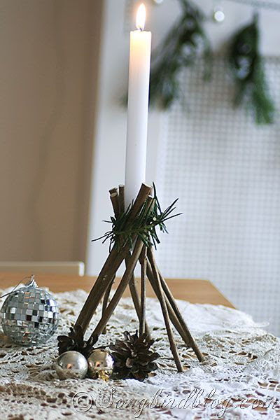 Make your own Twig candle holder. Songbird blog