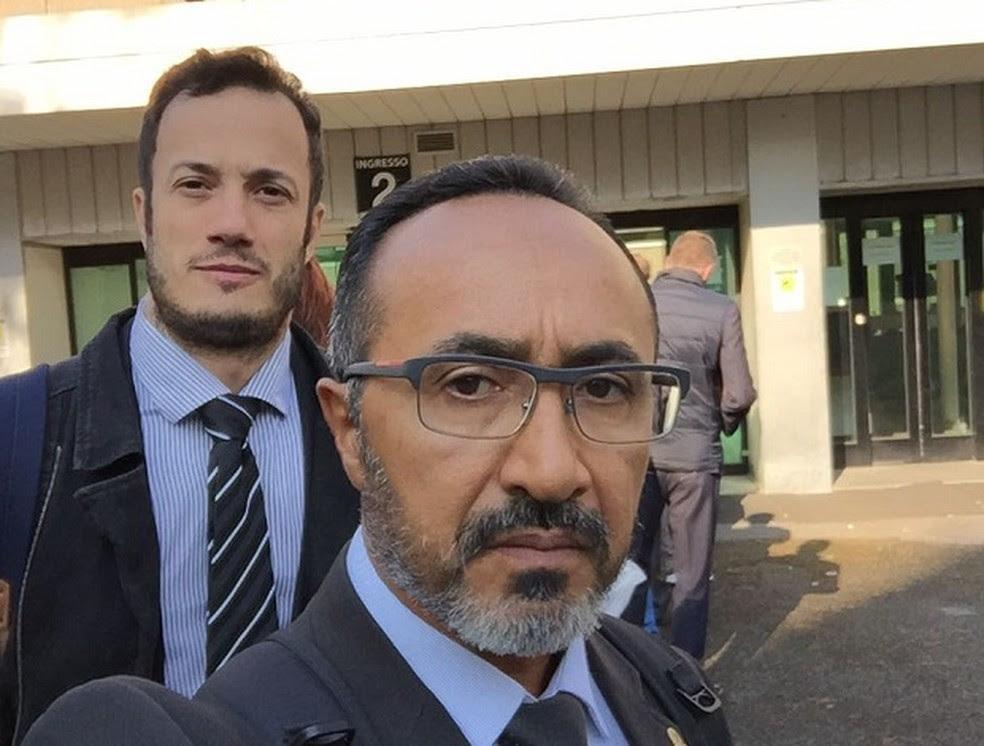 Delegado Raimundo Rolim e o advogado Rafael Araújo, que também prestou depoimento na Itália (Foto: Cedida)