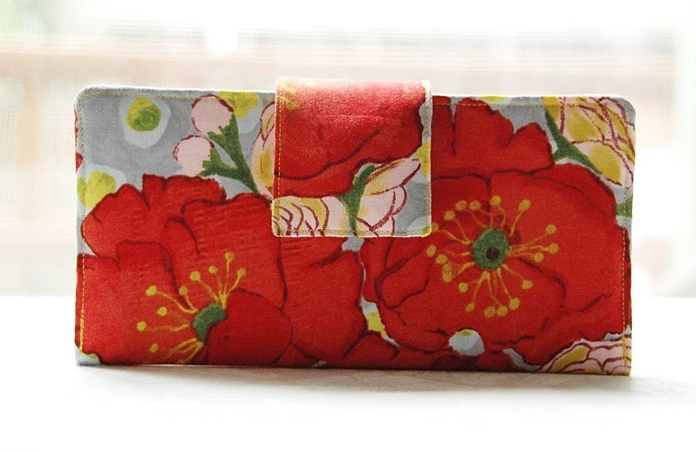 Erin Perfect wallet handmade small poppies with roses