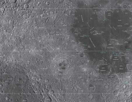 This image is part of a new series of high resolution images of the moon provided by the U.S. Geological Survey. This map is based on data from the Lunar Reconnaissance Orbiter Wide Angle Camera. Photo: U.S. Geological Survey