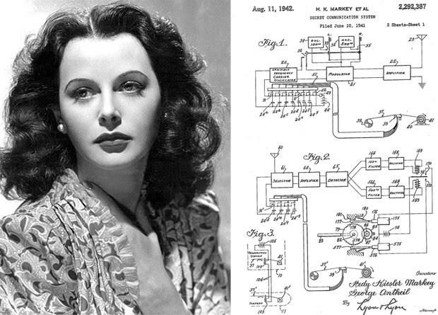 O 'sistema de comunicação secreto' de Hedy Lamarr permitiu a criação, mais tarde, de tecnologias como o Bluetooth e o Wi-Fi (Foto: Wikimedia Commons, Google Patents)