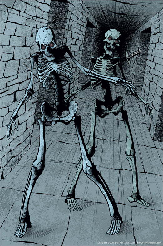Undead Skeletons pinup by Von Allan