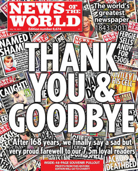 The final edition of News of the World, publis...